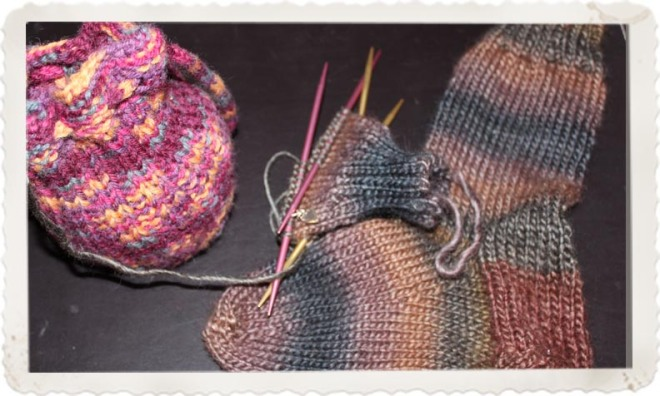 Beginner's Sock Pattern, by Heather Storta. Knit in Patons SWS yarn. 70% Wool and 30% soy.
