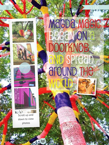 Read an article about the woman who started the yarn-bombing craze.