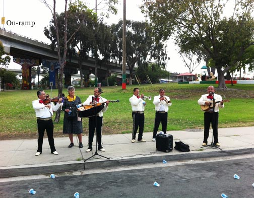 Mariachi Band at Barrio Logan park to urge us onto the on-ramp. See it there? More whining.