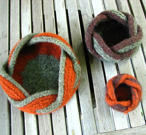 Trio of Felted Pentafold Moebius Bowls by Liat Gat