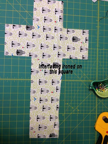 Cut out fabric. Note where interfacing is ironed.