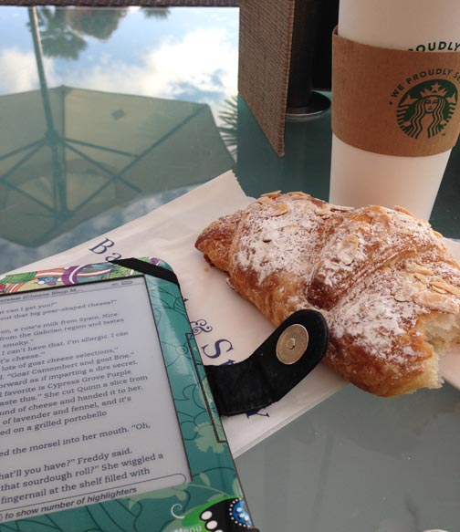 Coffee, Almond Croissant and the Kindle - Ah…..