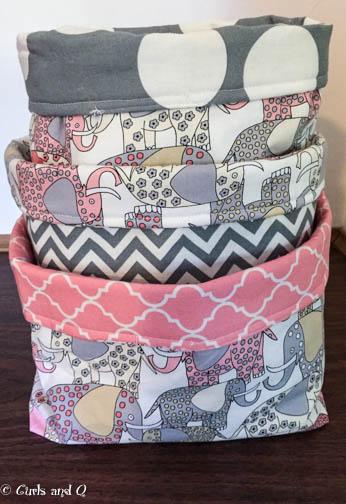 Elephant-print  Fabric Bins