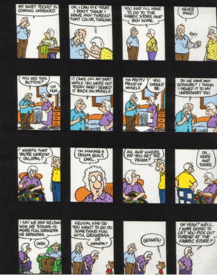 Timeless Treasures Pickles Cartoon Material Girl Comic Strip