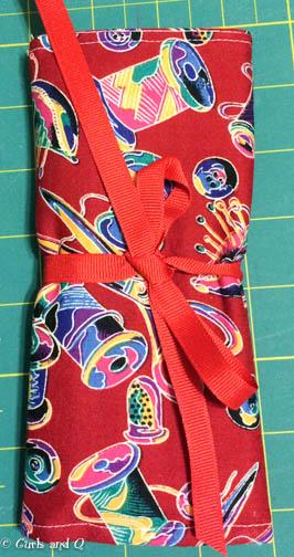Finished, folded and tied brush holder